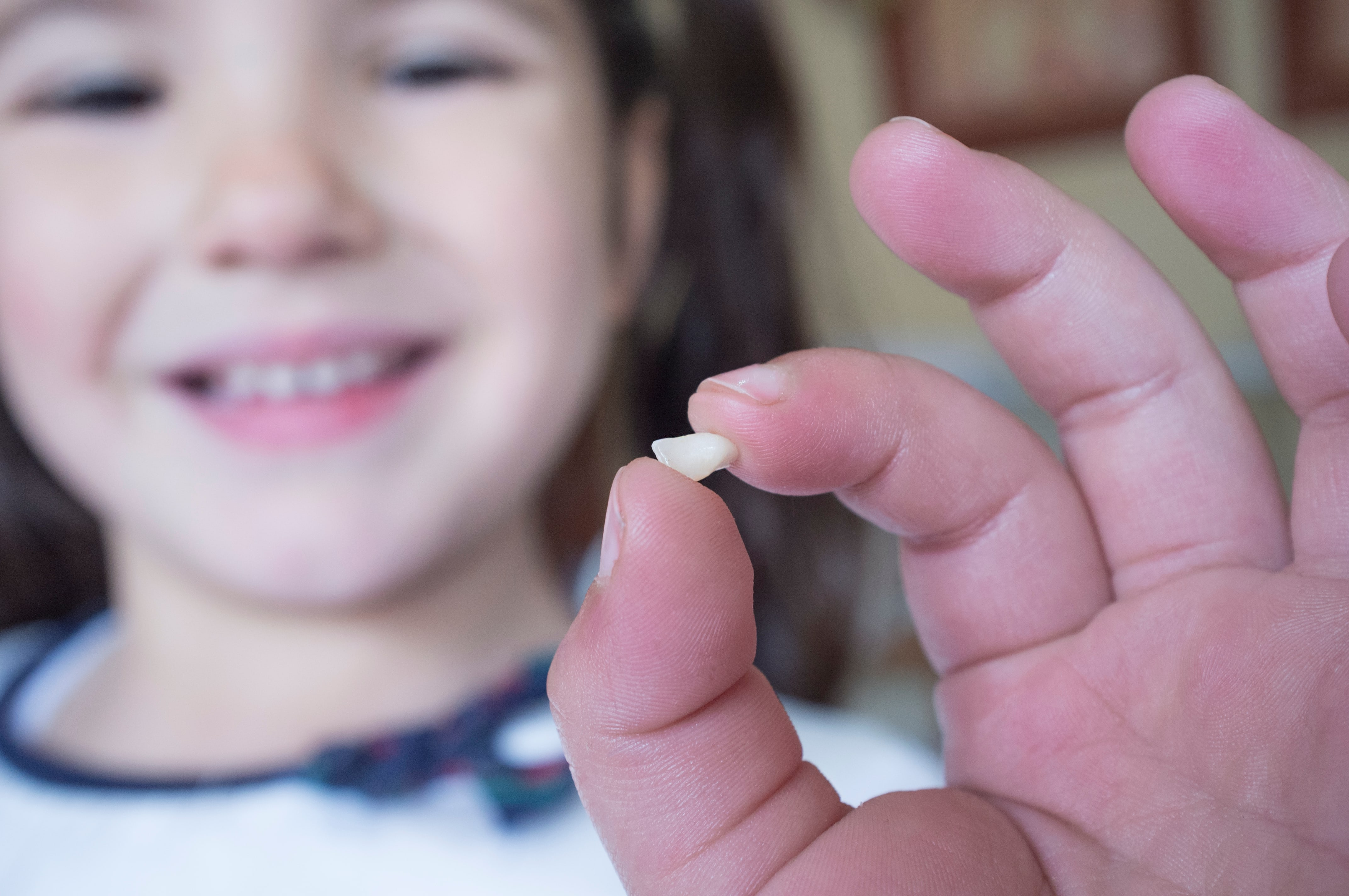 Picture of a very young girl smiling and holding her first lost tooth